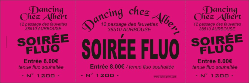 Billet spectacle papier fluo
