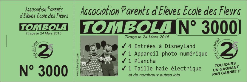 Billet tombola impression noire